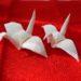 「ちりめんで折り鶴を作ってみよう(試行錯誤)」